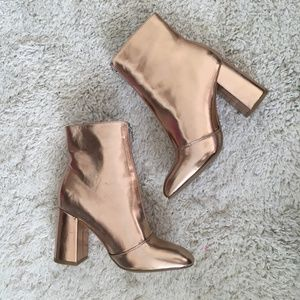 Metallic Faux Leather Boots - Gold